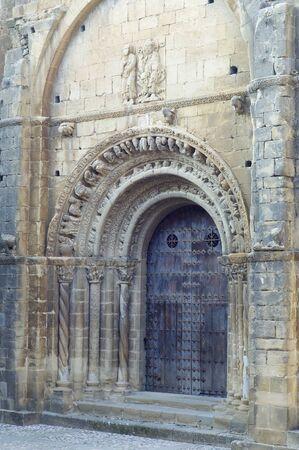 doorstep: Romanesque church of Santa Maria in Uncastillo, Spain. Stock Photo