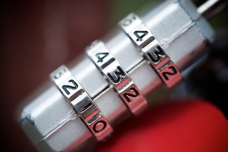 combination: View of a padlock combination numbers. Stock Photo