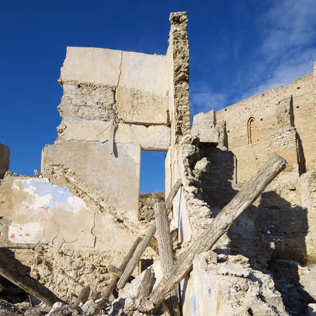 bombing: Roden village destroyed in a bombing during the Spanish Civil War, Saragossa, Aragon, Spain Stock Photo