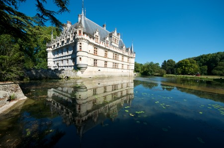 french renaissance: Castle of Azay le Rideau, Loire Valley, France. Built in the 16th century, on an island in the Indre River, is a magnificent example of French Renaissance architecture.