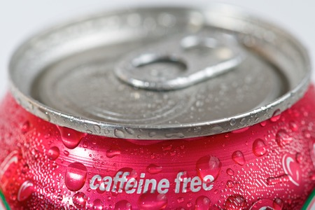 caffeine free: Close up of a can of caffeine free soda.