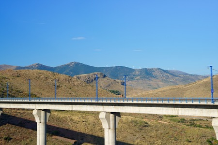 highspeed: view of a high-speed viaduct in Purroy, Zaragoza, Aragon, Spain. AVE Madrid Barcelona.