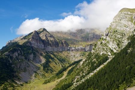 abrupt: Rioseta Mountains in Pyrenees, Canfranc Valley, Aragon, Huesca, Spain.