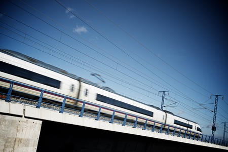 ave: view of a high-speed train crossing a viaduct in Sagides, Soria, Castilla Leon, Spain. AVE Madrid Barcelona. Stock Photo