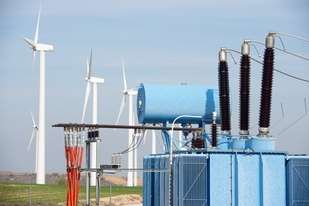 Windmills and electrical substation, Zaragoza province, Aragon, Spain. Stock fotó