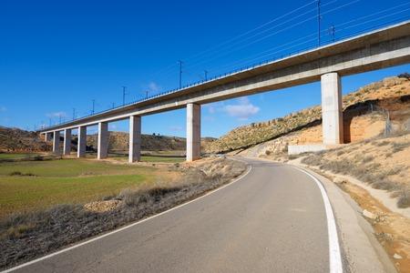 highspeed: view of a high-speed viaduct in Alconchel de Ariza, Saragossa, Aragon, Spain. AVE Madrid Barcelona.