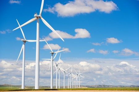 wind turbines: windmills for  electric power production Stock Photo