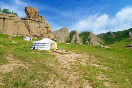 mongolian: Mongolian ger in Gorkhi Terelji National Park, Mongolia Stock Photo
