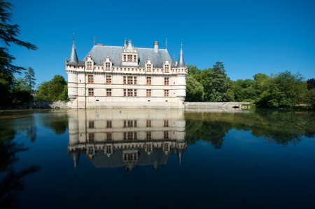 16th century: Castle of Azay le Rideau, Loire Valley, France. Built in the 16th century, on an island in the Indre River, is a magnificent example of French Renaissance architecture.