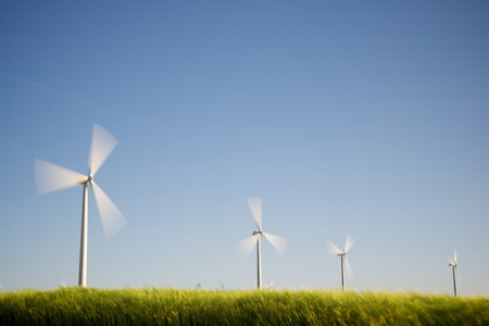 windfarms: Windmills for electric power production, Zaragoza Province, Aragon, Spain