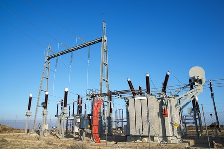 Closeup of an electrical substation.