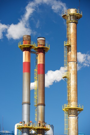 smokestacks: Smokestacks in a paper mill, Zaragoza Province, Spain.
