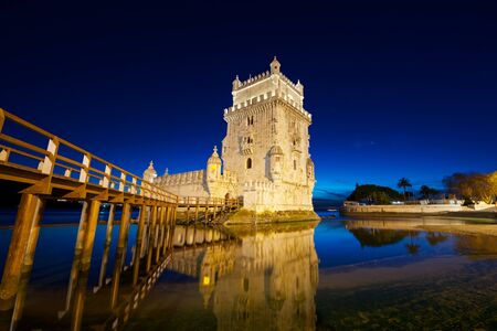 a nocturne: Belem Tower on Tagus river, Lisbon, Portugal.