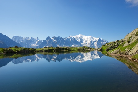 blanch: Mont Blanc reflected in Cheserys Lake, Mont Blanc Massif, Alps, France