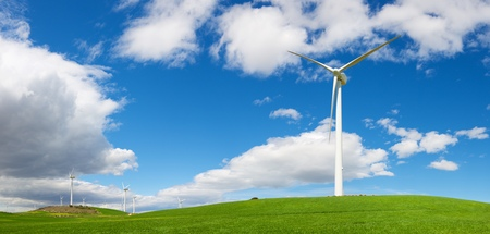 power production: Windmills for electric power production, Zaragoza province, Aragon, Spain. Stock Photo
