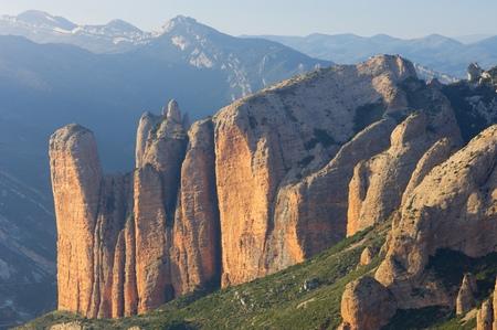 conglomerate: Rock spires known as Mallos de Riglos, Huesca, Aragon, Spain