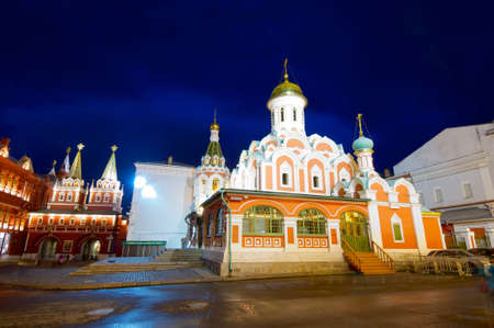 a nocturne: Cathedral of Our Lady of Kazan in Red Square, Moscow, Russia