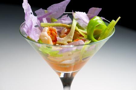 shrimp cocktail: Prawn cocktail served in a crystal goblet. Stock Photo