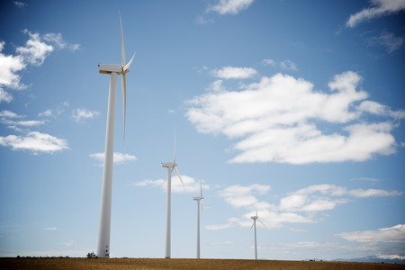 aligned: Windmills for electric power production, Zaragoza Province, Aragon, Spain. Stock Photo