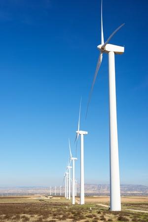 aragon: Windmills for electric power production, Zaragoza Province, Aragon, Spain. Stock Photo