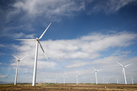 aligned: Windmills for electric power production, Zaragoza province, Aragon, Spain Stock Photo