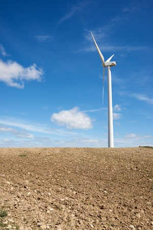 aligned: Windmill for electric power production, Zaragoza Province, Aragon, Spain. Stock Photo