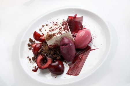 sorbet: dessert cheese and cherries with wine sorbet