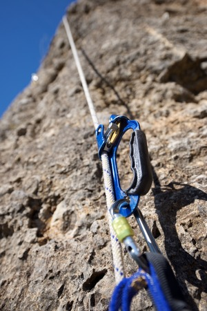 Ascender placed in a white rope. Stock Photo