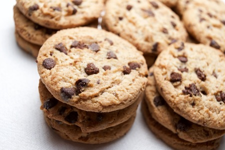 chocolate chips cookies: Group of chocolate chips cookies. Stock Photo