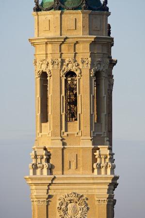 zaragoza: Tower in  basilica of Virgen del Pilar, Zaragoza, Aragon, Spain. Stock Photo