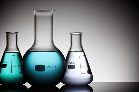 scientifical: group of laboratory flasks with liquid inside Stock Photo
