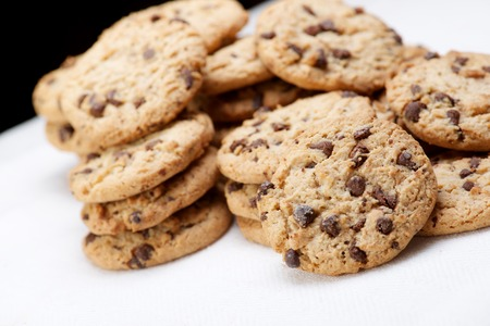 Group of chocolate chips cookies. Stock Photo