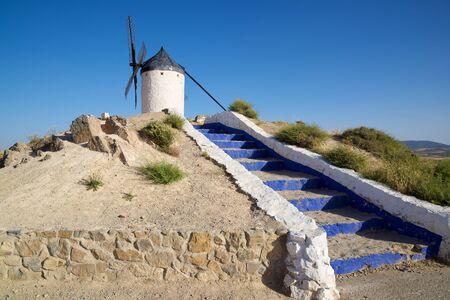 mancha: Windmill in Consuegra, Toledo Province, Castilla La Mancha, Spain. Stock Photo