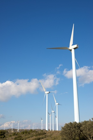 Windmills for electric power production, Huesca province, Aragon, Spain Stock Photo