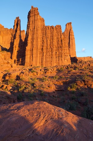 desert ecosystem: landscape of the towers in the desert area known as Fisher Tower, Utah, Usa
