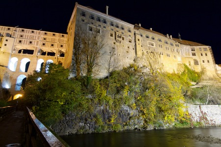 a nocturne: Castle of Cesky Krumlov, South Bohemia, Czech Republic. Editorial