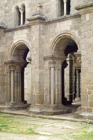 trebic: entrance of the  Basilica of St Procopius in  Trebic, the World Cultural and Natural Heritage of UNESCO, Moravia, Czech Republic