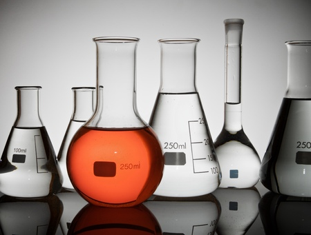 flasks: group of laboratory flasks containing liquid color