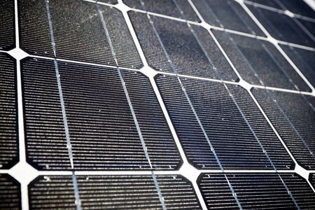 photoelectric: Detail of a photovoltaic panel for renewable electric production. Stock Photo