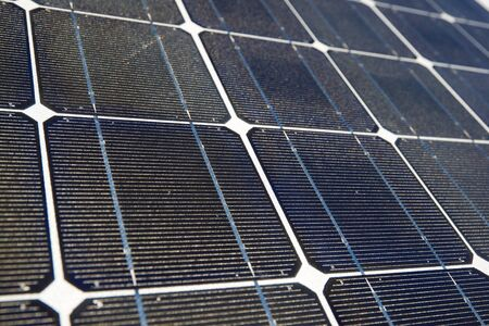 photocell: Detail of a photovoltaic panel for renewable electric production. Stock Photo