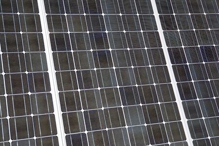 forefront: Detail of a photovoltaic panel for renewable electric production. Stock Photo