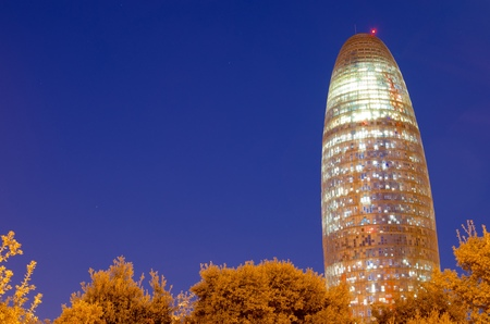 view of the Agbar Tower, Barcelona, Catalonia, Spain Editorial