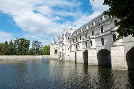 view of the castle of Chenonceau, Loire Valley, France. Known as the castle of the ladies was built in 1513 by Katherine Briconnet, houses a collection of valuable paintings and striking good is one of the most visited in the Loire Valley.