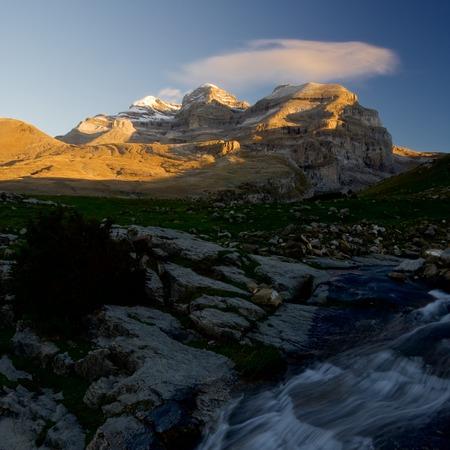 perdido: View of the massif of Monte Perdido in Ordesa National Park, Anisclo Canyon, Huesca, Aragon, Spain. Stock Photo