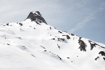 Snowy peak in Ossau Valley, France. Stock Photo