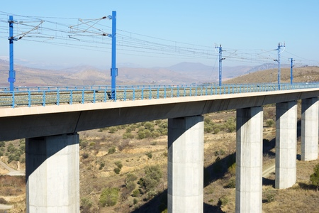 aragon: view of a high-speed viaduct in Zaragoza Province, Aragon, Spain. AVE Madrid Barcelona.
