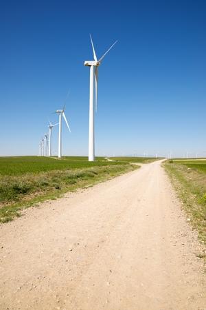 Windmills for electric power production, Zaragoza Province, Aragon, Spain. Stock Photo