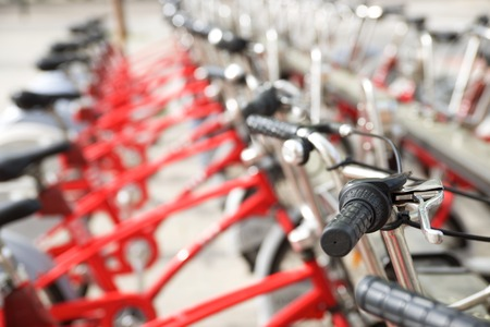 zaragoza: Rental bicycles parked, Zaragoza, Spain. Stock Photo