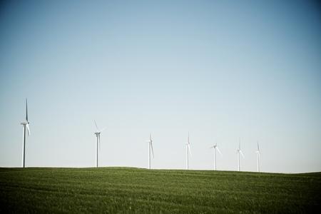 zaragoza: Windmills for electric power production, Zaragoza Province, Aragon, Spain. Stock Photo