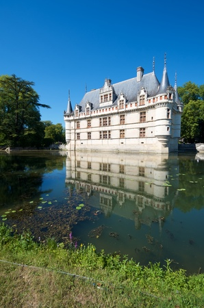 the loire: Castle of Azay le Rideau, Loire Valley, France. Built in the 16th century, on an island in the Indre River, is a magnificent example of French Renaissance architecture.